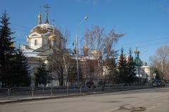 Cattedrale di ascensione - il tempio principale della città di Novosibirsk nell'orario invernale fotografie stock libere da diritti