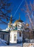 Cattedrale di ascensione nel quadrato di Narym a Novosibirsk, Russia immagini stock libere da diritti