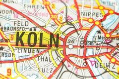 Cattedrale di Colonia sulla mappa, Colonia, Renania settentrionale-Vestfalia immagine stock