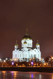 Cattedrale di Cristo il salvatore a Mosca alla notte Fotografia Stock Libera da Diritti