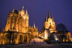 Cattedrale di Erfurt in sera Fotografia Stock Libera da Diritti