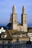 Cattedrale di Grossmuenster a Zurigo Immagine Stock