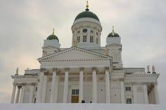 Cattedrale di Helsinki un giorno di inverno nuvoloso a Helsinki, Finlandia Fotografia Stock