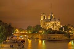 Cattedrale di Notre-Dame - di Parigi nella notte Fotografia Stock Libera da Diritti