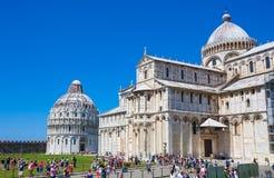Cattedrale di Pisa e San Giovanni Battistero, Piazza del Duomo Fotografia Stock Libera da Diritti