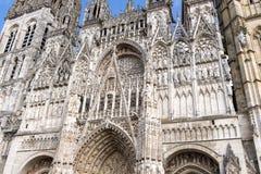 Cattedrale di Rouen Esterno della cattedrale gotica La Normandia Haute Francia fotografia stock libera da diritti
