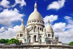 Cattedrale di Sacre Coeur su Montmartre, Parigi immagini stock libere da diritti