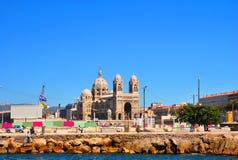 Cattedrale di Sainte-Marie-Majeure a Marsiglia, vista dal mare Fotografie Stock Libere da Diritti