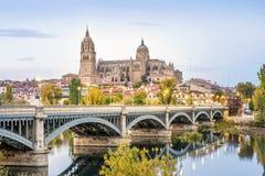 Cattedrale di Salamanca e del ponte sopra il fiume di Tormes, Spagna Fotografia Stock