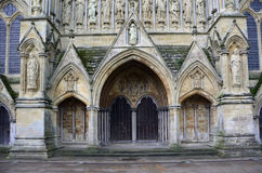 Cattedrale di Salisbury - Front Entrance ad ovest, Salisbury, Wiltshire, Inghilterra Immagini Stock