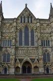 Cattedrale di Salisbury - Front Entrance ad ovest, Salisbury, Wiltshire, Inghilterra Immagini Stock Libere da Diritti