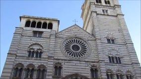 Cattedrale di San Lorenzo, a Genova stock footage