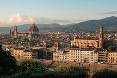 Cattedrale di Santa Maria del Fiore e basilica di Santa Croce, F Immagini Stock Libere da Diritti