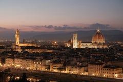 Cattedrale di Santa Maria del Fiore e torre di Palazzo Vecchio, Fotografia Stock Libera da Diritti
