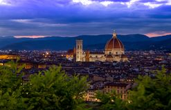 The illuminated Duomo in Florence, Italy during the blue hour. stock photo