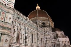 Cattedrale di Santa Maria del Fiore. At night in Florence Royalty Free Stock Image