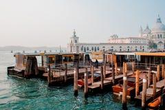 Cattedrale di Santa Maria della Salute e della gondola nella priorità alta a Venezia, Italia Fotografie Stock Libere da Diritti