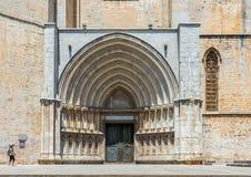 Cattedrale di Santa Maria di Girona La Catalogna, Spagna Fotografia Stock Libera da Diritti