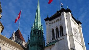 Cattedrale di StPier a Ginevra, Svizzera stock footage