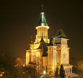 Cattedrale di Timisoara alla notte Fotografie Stock