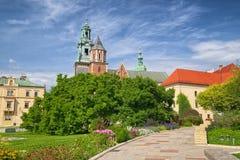 Cattedrale di Wawel del castello reale di Wawel, Cracovia, Polonia immagini stock libere da diritti