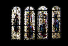 Cattedrale di Windows Saint Malo del vetro macchiato--  La Francia Immagine Stock