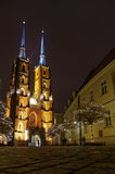 Cattedrale di Wroclaw di notte Immagine Stock Libera da Diritti