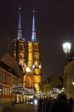 Cattedrale di Wroclaw di notte Immagine Stock