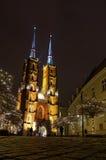 Cattedrale di Wroclaw di notte Fotografia Stock Libera da Diritti