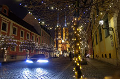 Cattedrale di Wroclaw di notte Immagini Stock Libere da Diritti