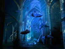 Cattedrale distrussa sommergibile illustrazione vettoriale