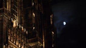Cattedrale e mezzaluna di Strasburgo Notre-Dame video d archivio