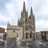 Cattedrale e quadrato di Santa Maria a Burgos, Castiglia, Spagna. Fotografie Stock Libere da Diritti