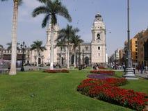 Cattedrale e quadrato principale a Lima del centro Fotografia Stock Libera da Diritti