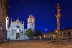 Cattedrale famosa di Aveiro entro le notti nel Portogallo Immagine Stock Libera da Diritti
