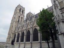 Cattedrale gotica bella di stordimento nella capitale belga Bruxelles fotografia stock