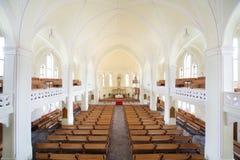 Cattedrale luterana evangelica interna Immagini Stock Libere da Diritti