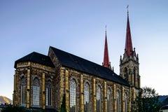 Cattedrale maestosa in Alpendorf, Austria, tramonto Fotografia Stock Libera da Diritti