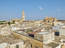 Cattedrale metropolitana di Santa Maria Assunta cathedral of Lecce. Puglia, Italy. Lecce rooftop view with the Bell tower of Cattedrale metropolitana di Santa Royalty Free Stock Images