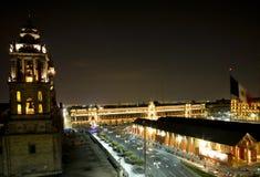 Cattedrale metropolitana Zocalo Messico City alla notte Fotografie Stock