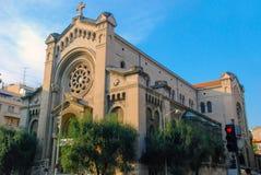 Cattedrale nel Riviera francese, paesaggio urbano di Nizza in Francia immagine stock libera da diritti