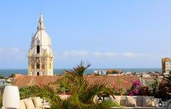Cattedrale nella città coloniale spagnola di Cartagine, Colombia immagini stock libere da diritti