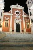 Cattedrale nella città di Corfù (Grecia) alla notte Fotografia Stock