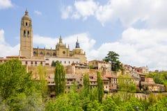 Cattedrale nella città storica di Segovia, Castiglia y Leon, Spai fotografia stock libera da diritti