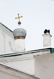 Cattedrale nella fortezza di Izborsk, dettaglio Fotografia Stock