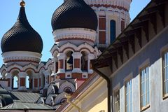 Cattedrale ortodossa di Alexander Nevksy a Tallinn, Estonia fotografia stock libera da diritti