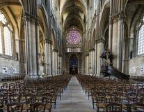 Cattedrale Reims Rose Windows Interior Immagini Stock Libere da Diritti