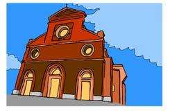 Cattedrale sul fondo di colore Immagini Stock Libere da Diritti