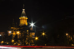 Cattedrale Timisoara di visione notturna Immagini Stock