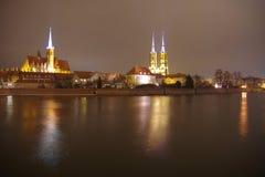Cattedrali della città di Wroclaw di notte Fotografia Stock Libera da Diritti